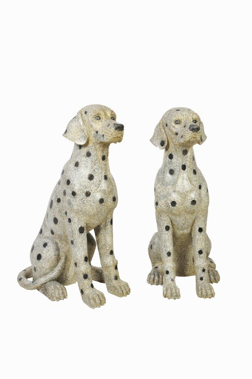 16: A PAIR OF LIFE SIZE HAND CARVED GRANITE DALMATIANS
