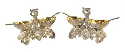 145: A FINE PAIR OF FRENCH STERLING SILVER AND SILVER P
