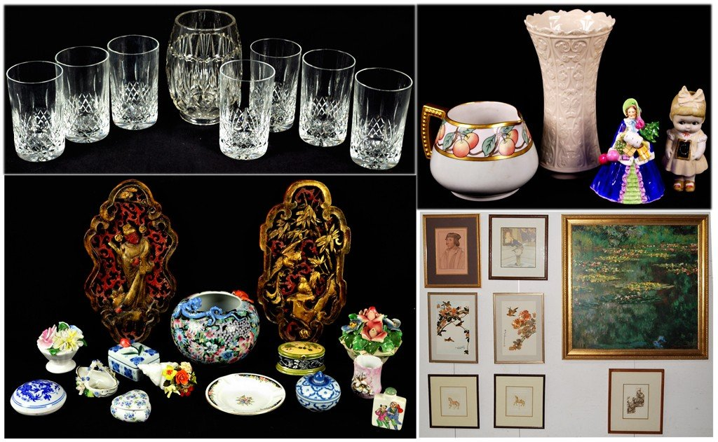 3: ASSORTMENT OF GLASSWARE, TRINKETS AND VANITY ITEMS,