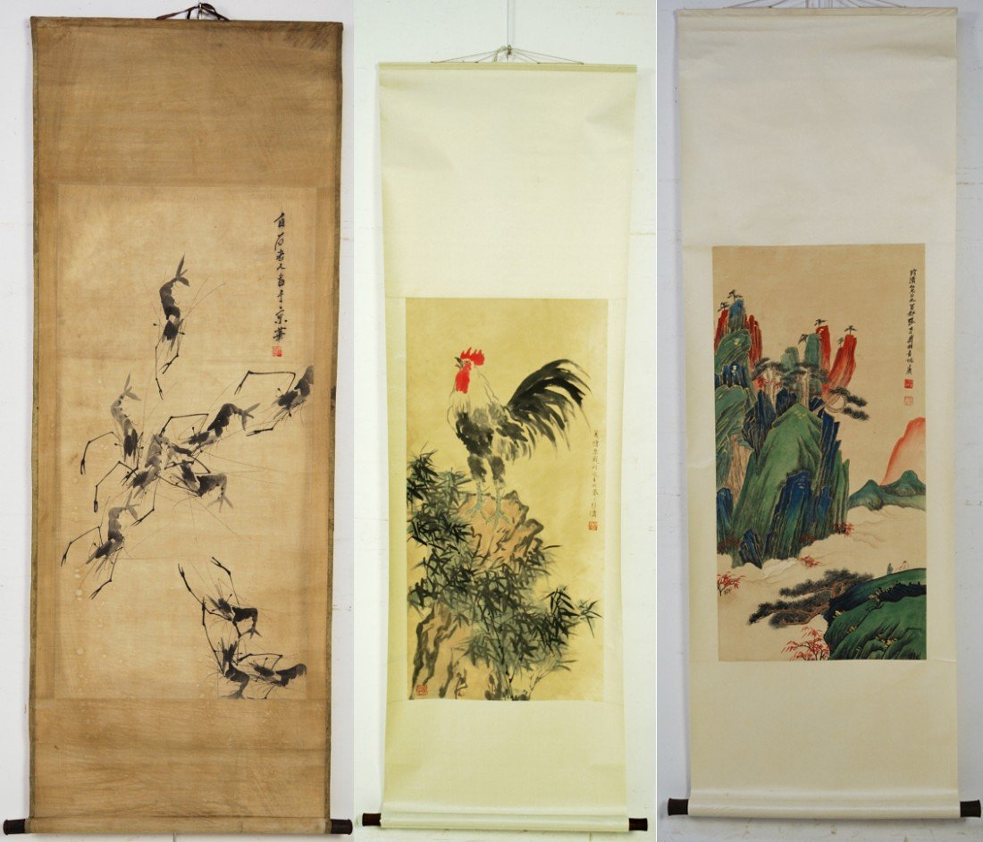 4: 3 CHINESE SCROLL PAINTINGS WITH ARTIST SIGNATURE AND