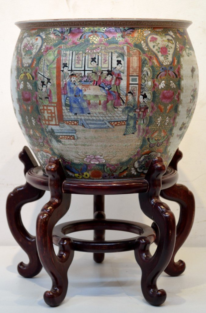 18: FISH BOWL WITH ASIAN MOTIF AND TWO TIERED STAND. 19