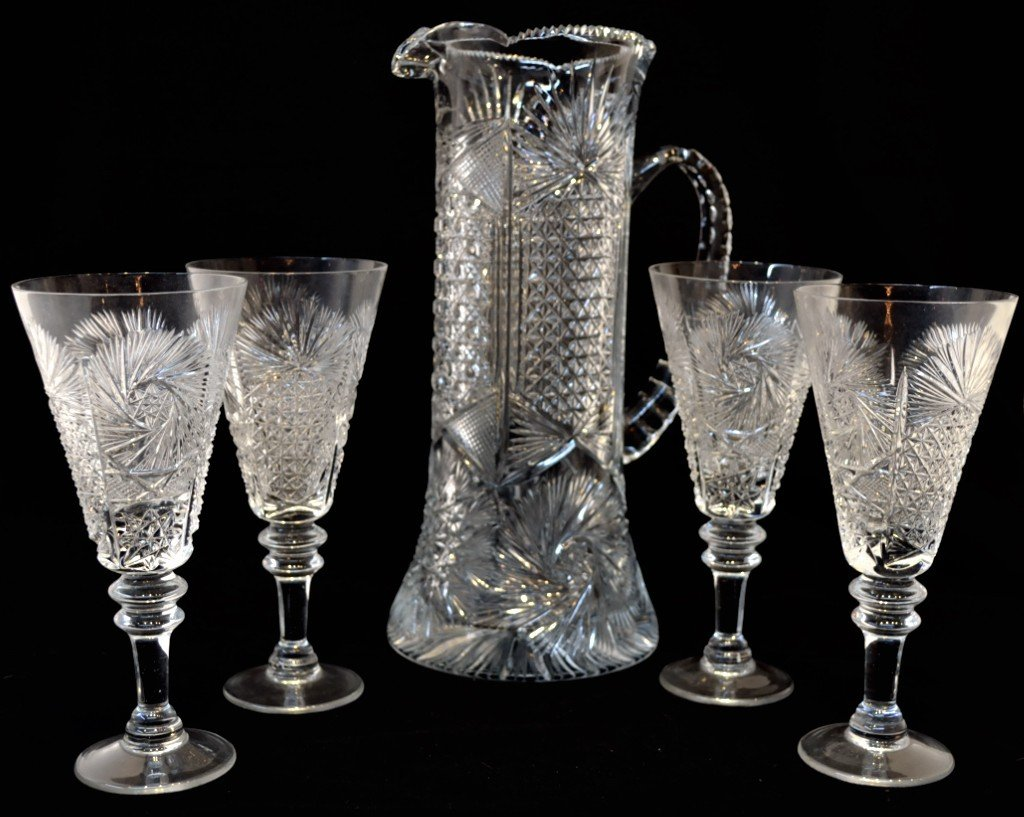 23: TURKEY CUT GLASS PITCHER WITH FOUR GLASSES