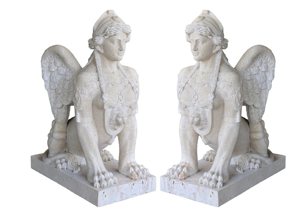3: A PAIR OF WINGED FEMALE SPHINX