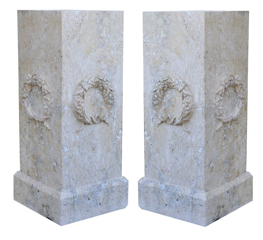 4: A PAIR OF PEDESTALS OF RECTANGULAR FORM