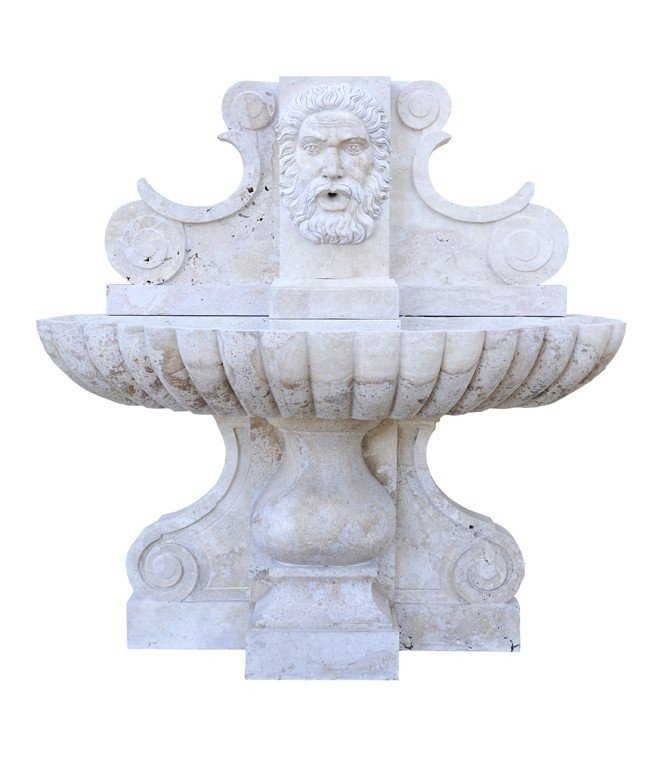 "5: ""WALL FOUNTAIN WITH OUTWARDLY FACING ""S"" SCROLL CORB"