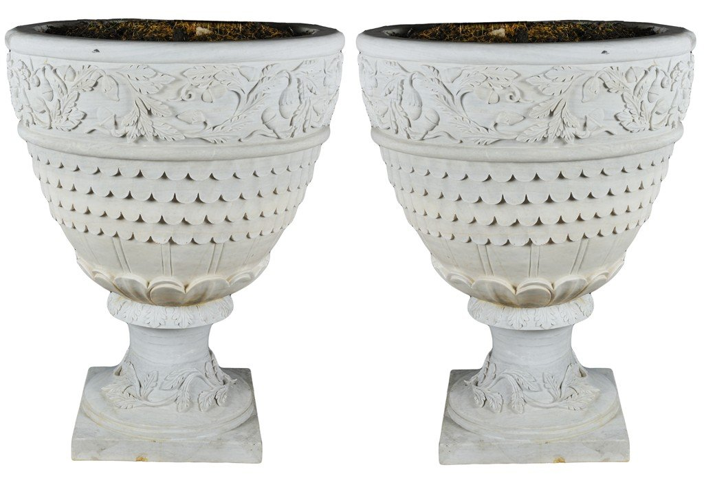 "8: ""A PAIR OF BIANCO CARRERA URNS"""
