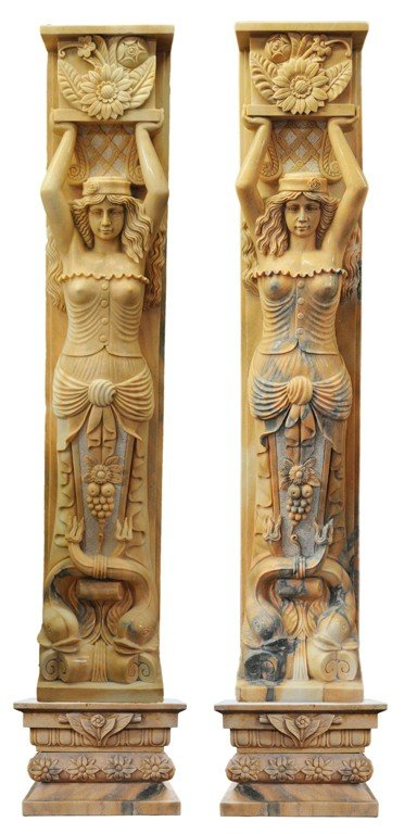 22: A PAIR OF EXOTIC CARYATED FORM, MAIDEN PILASTERS