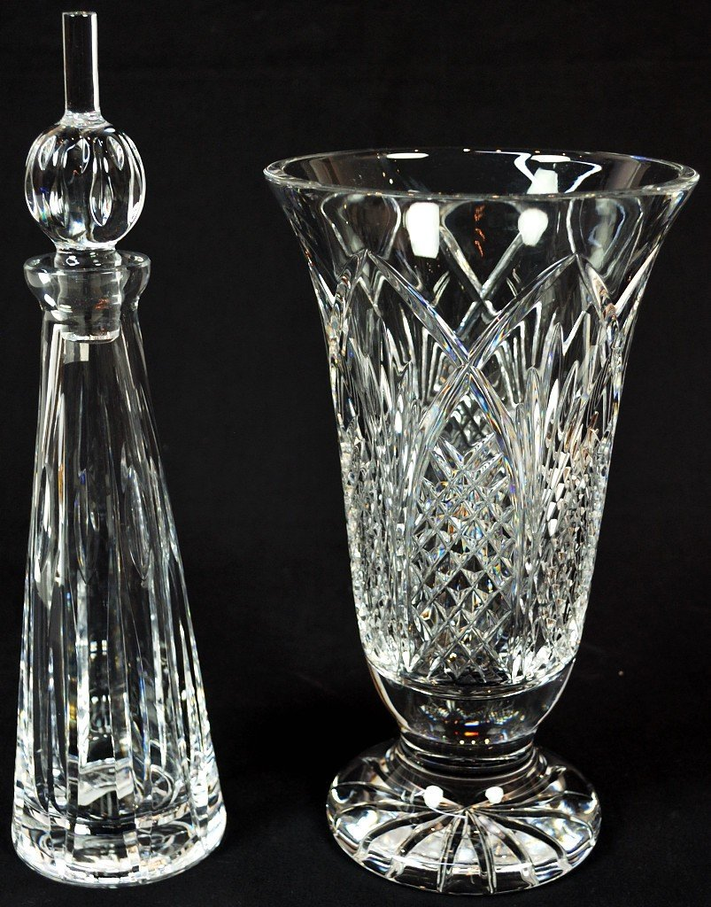 4: WATERFORD VASE AND DECANTER WITH STOPPER