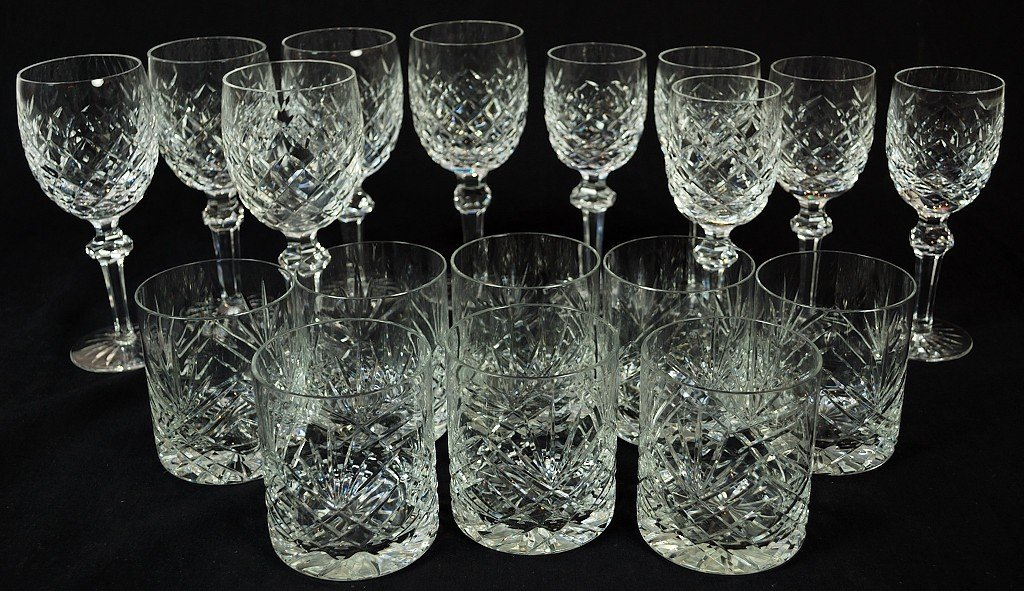 8: SET OF 8 WATERFORD GLASSES AND 10 WINE GLASSES