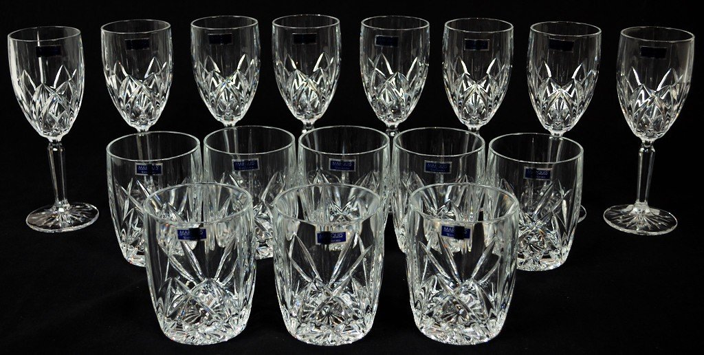 9: SET OF 8 WATERFORD GLASSES AND 8 FLUTES (MARQUIS)