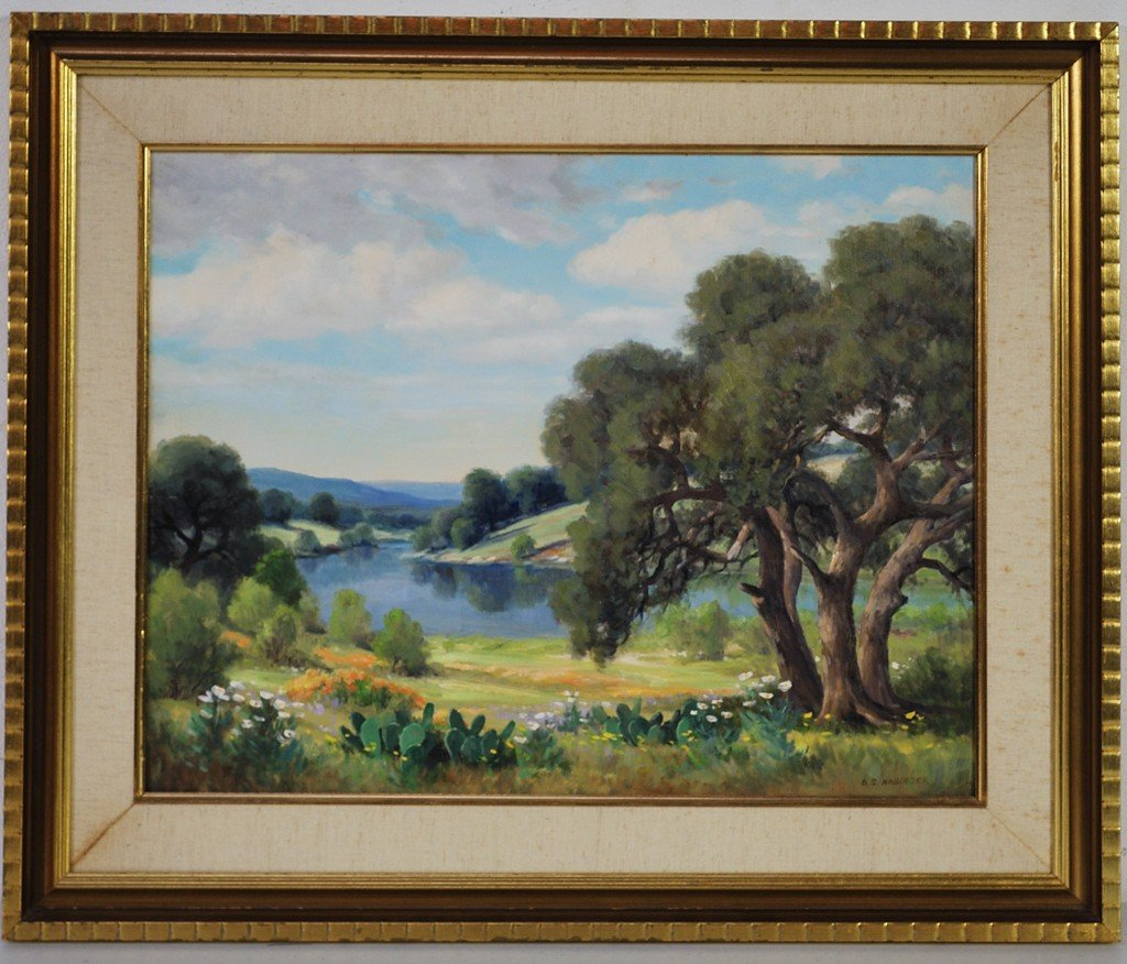 "19: D.S. NABINGER, ""Texas Hill Country"", Oil on canvas,"