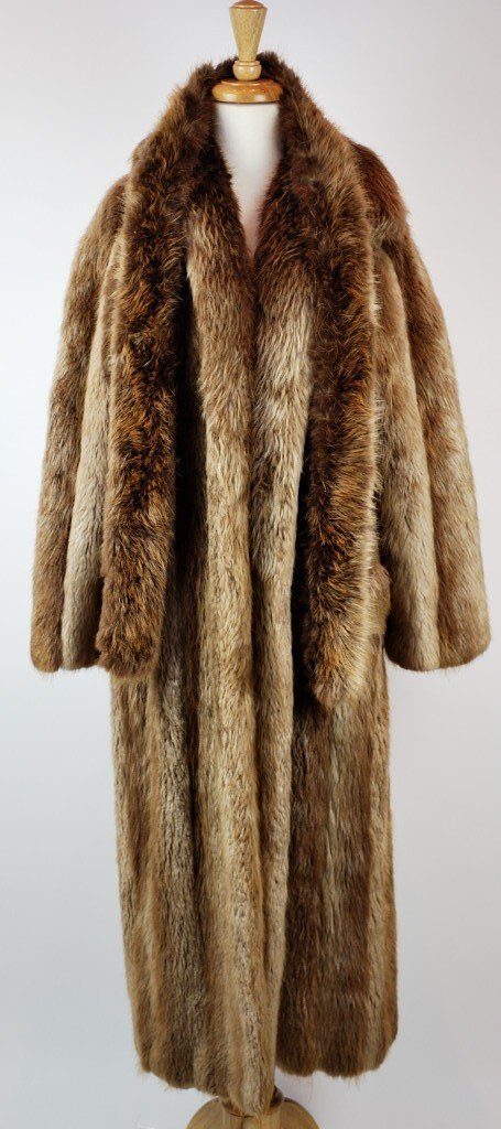 33: GOLDIN FELDMAN LONG HAIRED BEAVER FULL LENGTH COAT