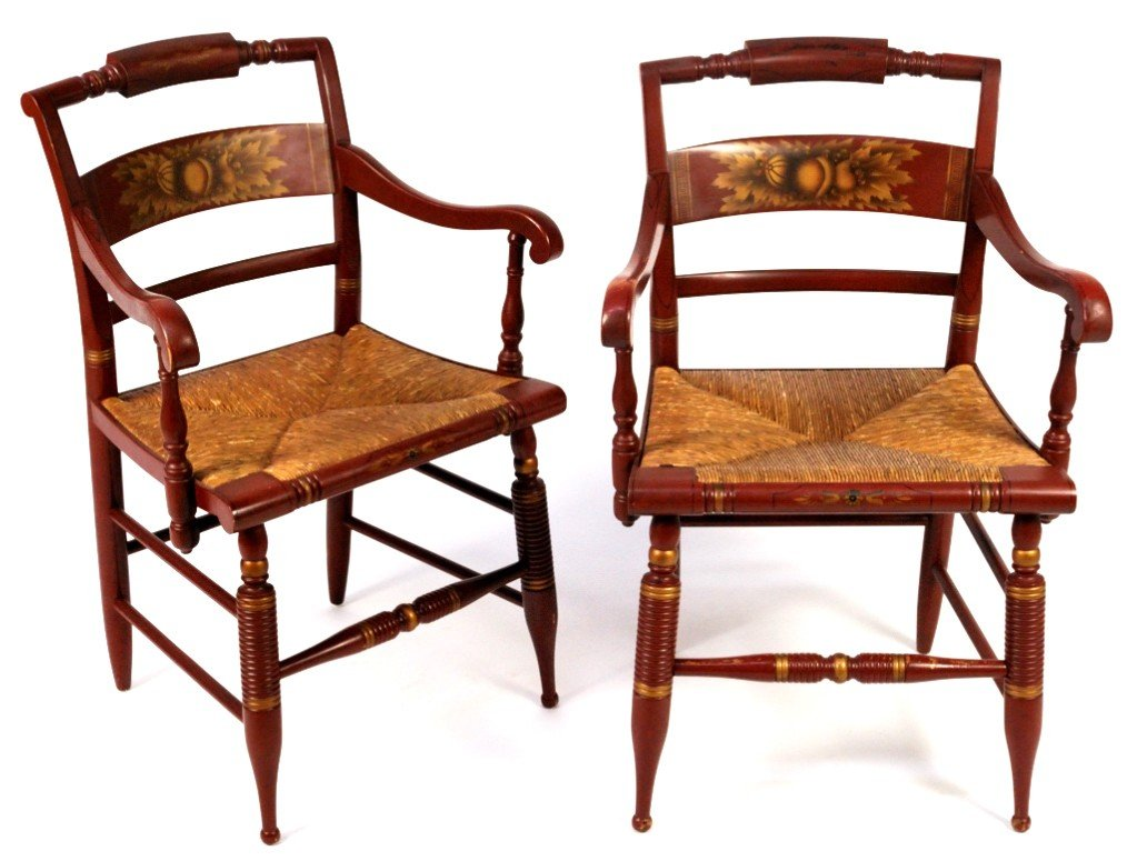 15: 2 HITCHCOCK ARMCHAIRS WITH RUSH SEATS
