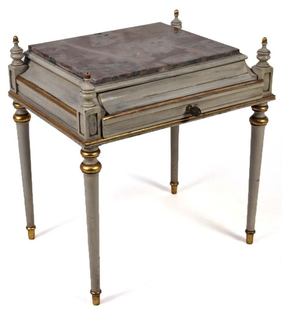19: LOUIS XVI STYLE LOW SIDETABLE WITH MARBLE TOP