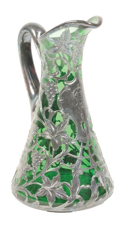 4: A SILVER OVERLAY GREEN GLASS WINE PITCHER Probably A
