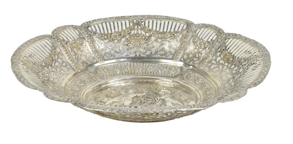 6: A LARGE OVAL SILVER RETICULATED BASKET Germany, The
