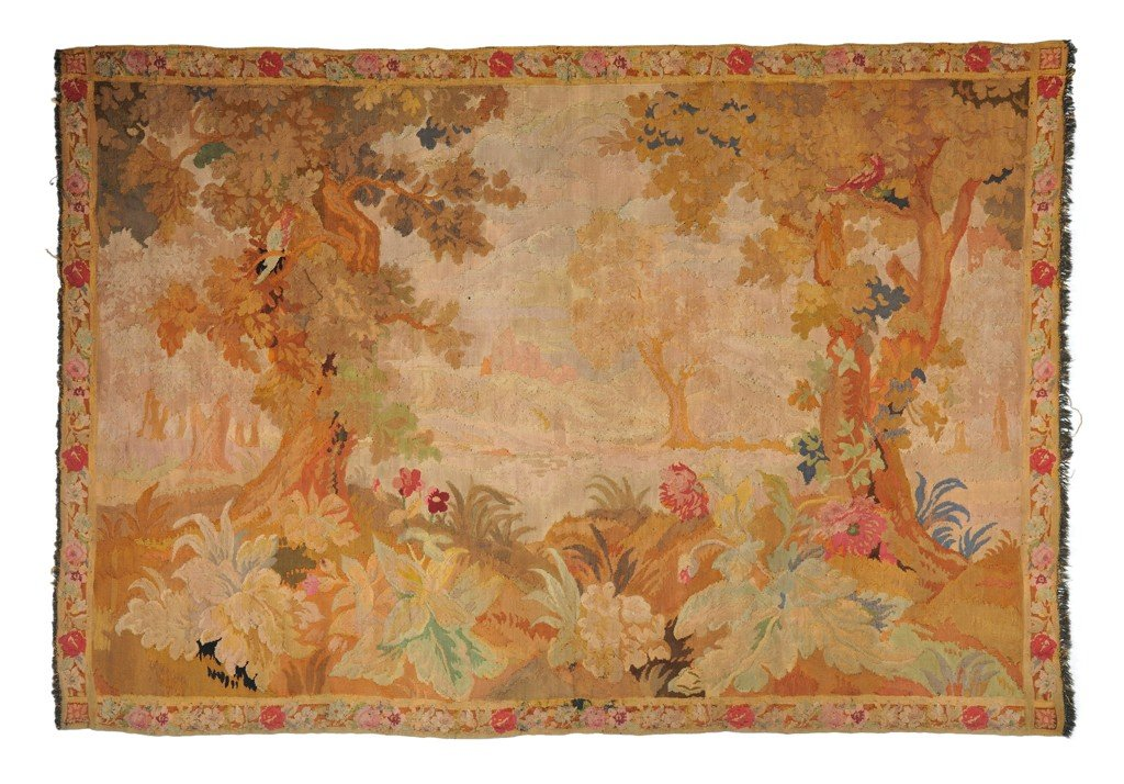 12: FRENCH TAPESTRY COUNTRY SIDE SCENE Late 1800's 7 ft