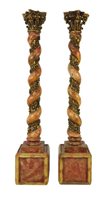 14: A PAIR OF FAUX MARBLE AND PARCEL GILT SOLOMONIC COL