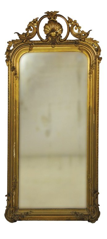 15: A GEORGIAN HAND CARVED GILTWOOD PIER MIRROR 19th Ce