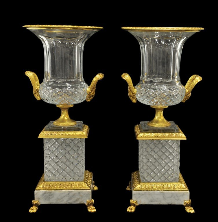 21: A PAIR OF EMPIRE STYLE CUT GLASS AND BRONZE DORE MO