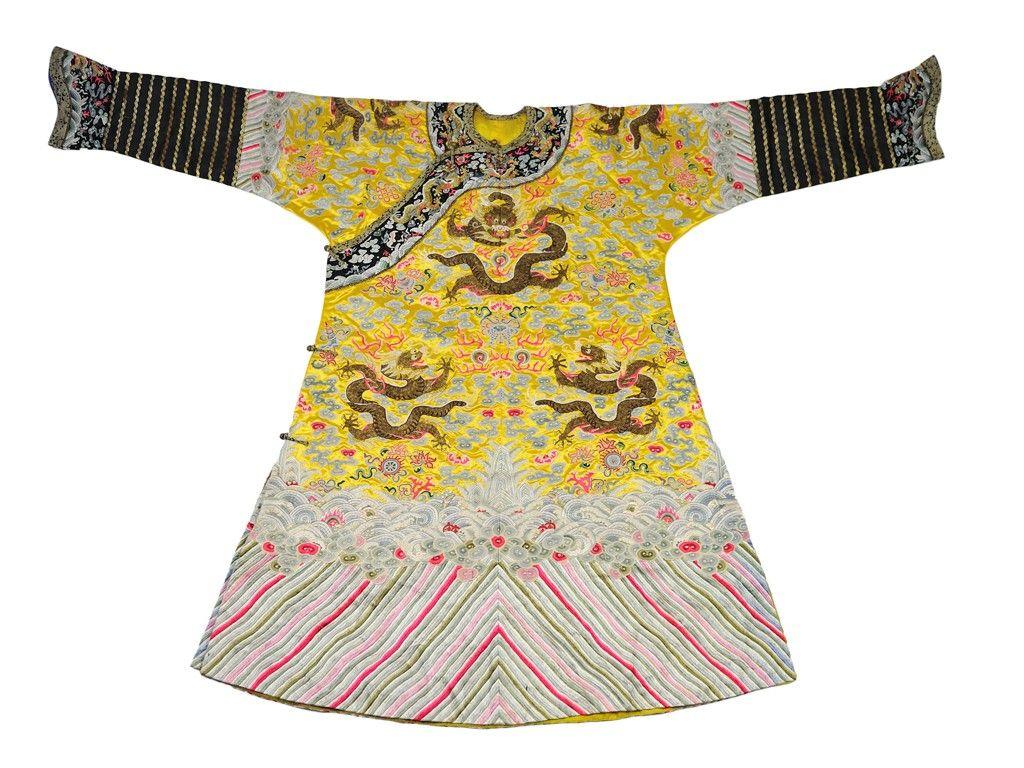 A CHINESE YELLOW SILK DRAGON ROBE (JI FU) Late 19t