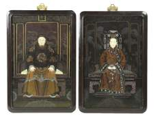 183 A PAIR OF FRAMED CHINESE REVERSE GLASS PAINTINGS C