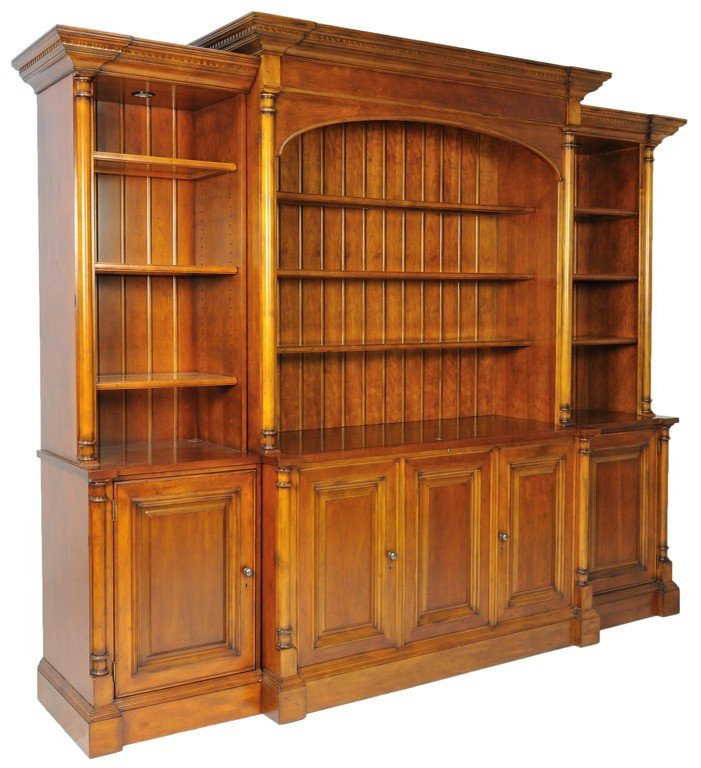 330: A LARGE CHERRY BOOKCASE / TV CABINET WITH TWO SIDE