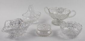 FIVE PIECES OF CUT GLASS INCLUDING BOWLS, BASKET, AN