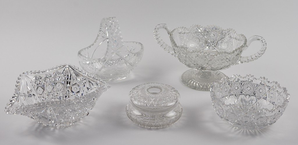 1: FIVE PIECES OF CUT GLASS INCLUDING BOWLS, BASKET, AN