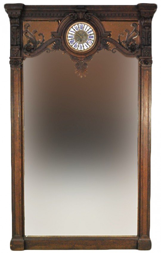 10: GRAND WALNUT 19TH CENTURY HALL MIRROR WITH CLOCK