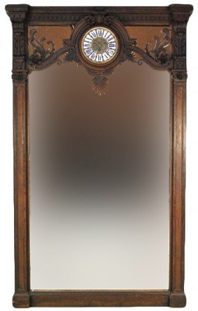 GRAND WALNUT 19TH CENTURY HALL MIRROR WITH CLOCK