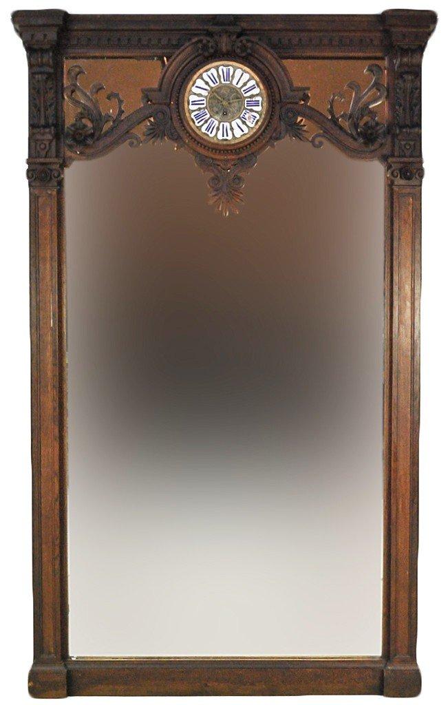 10: GRAND WALNUT 19TH CENTURY HALL MIRROR WITH CLOCK