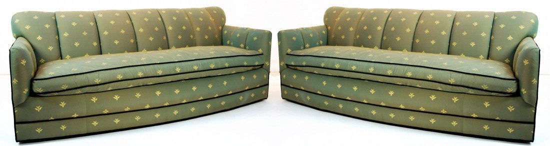 12: PAIR OF MATCHING TUXEDO SOFAS, GREEN SILK WITH BLAC
