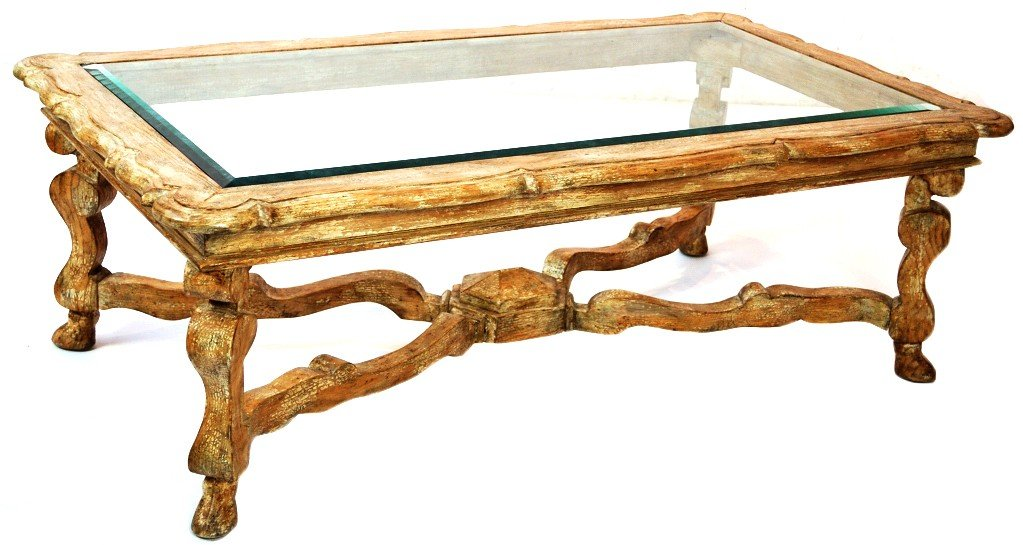 13: FAUX PAINTED RECTANGLE COFFEE TABLE WITH GLASS TOP