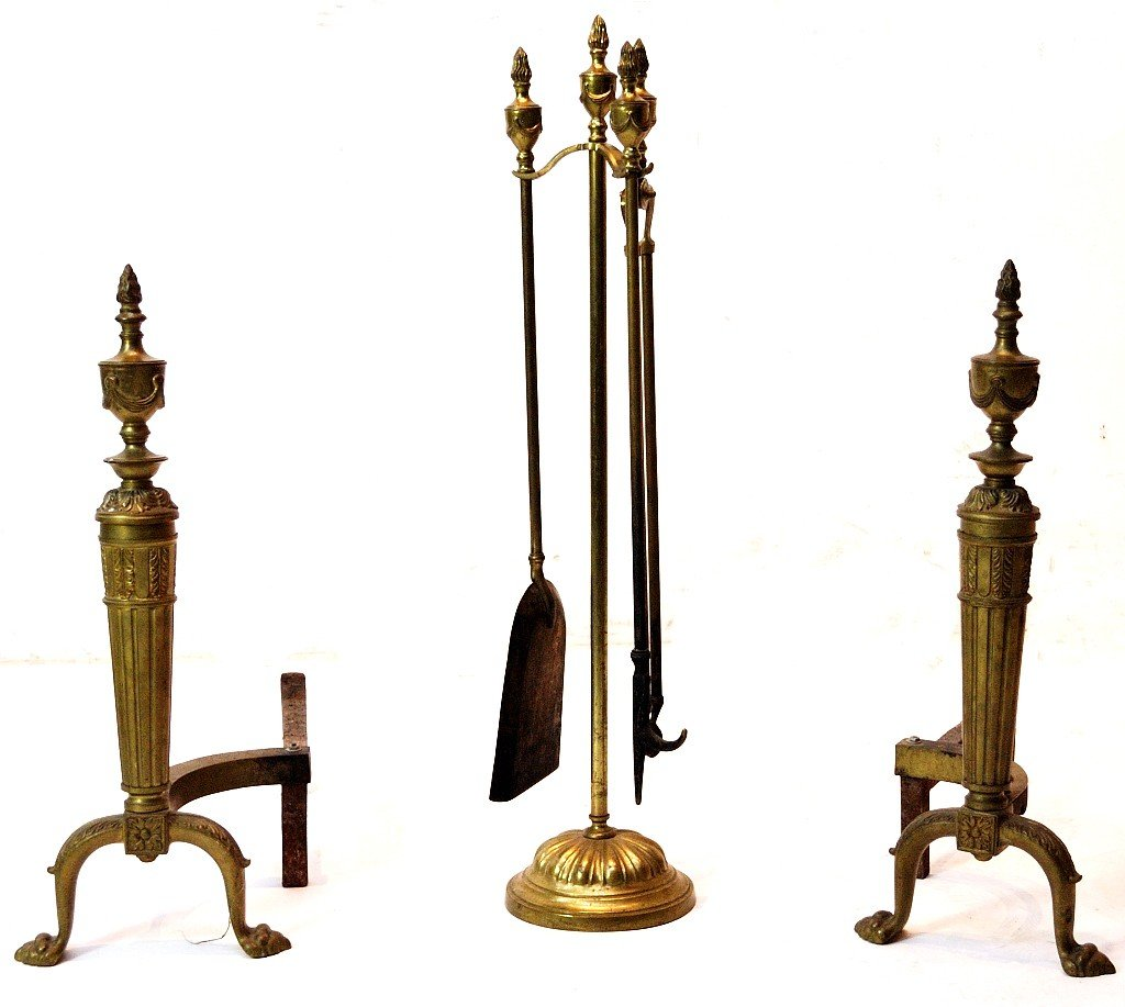 16: SET OF FIRE PLACE BRASS TOOLS AND ANDIRONS