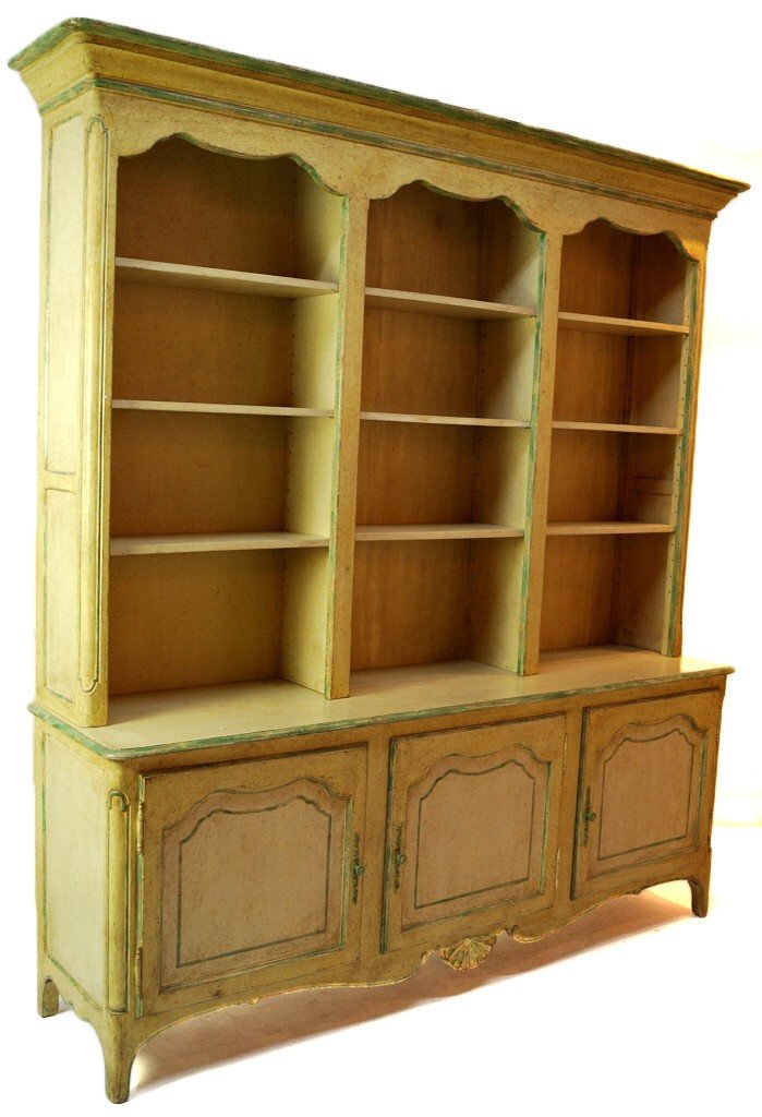 17: TWO PIECE COUNTRY FRENCH STEP BACK CABINET
