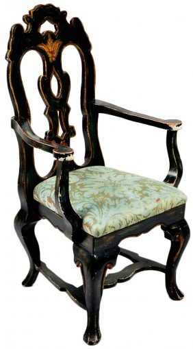 20: VICTORIAN HANDPAINTED WOOD ARMCHAIR