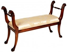 22: EMPIRE STYLE WALNUT BENCH WITH CHAMPAGNE UPHOLSTERY