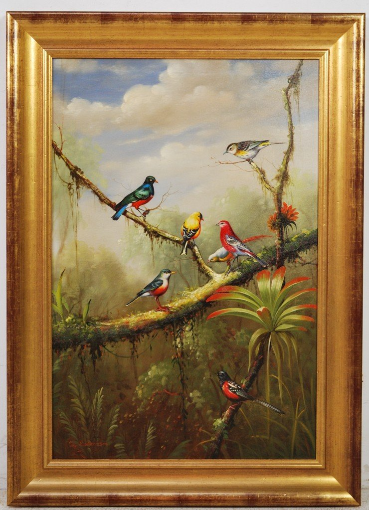 79: S. ROBERTSON, LANDSCAPE WITH BIRDS, OIL ON CANVAS,