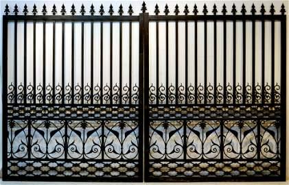 1: LARGE PAIR OF DECORATIVE HEAVY CAST IRON GATES