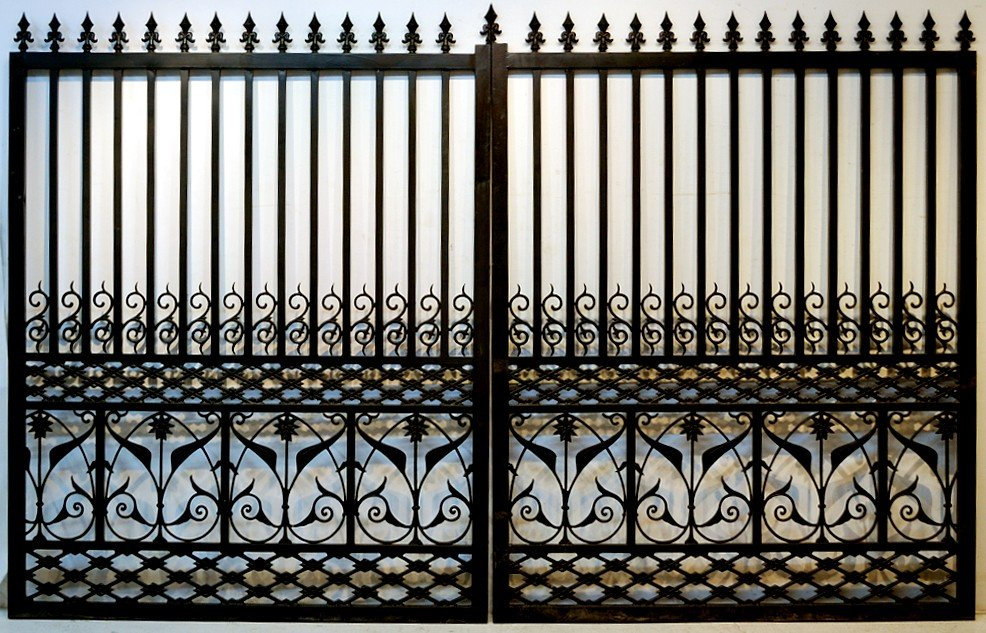 1: LARGE PAIR OF DECORATIVE HEAVY CAST IRON GATES