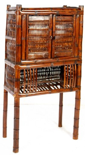 2: BAMBOO TWO DOOR CABINET WITH OPEN FRET WORK