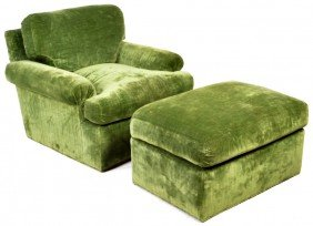 3: CUSTOM LOUNGE CHAIR AND OTTOMAN BY KISABETH WITH STR