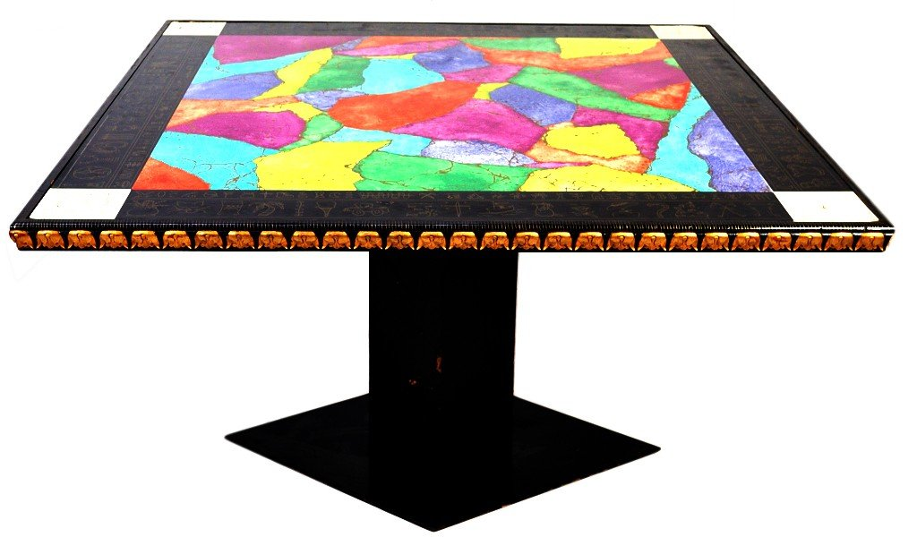 4: A SQUARE COLLAGE GAME TABLE WITH BRIGHT COLORS
