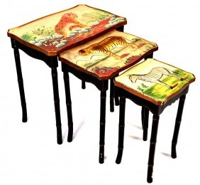 5: A SET OF PAINTED NESTING TABLES, WITH FAUX BAMBOO LE
