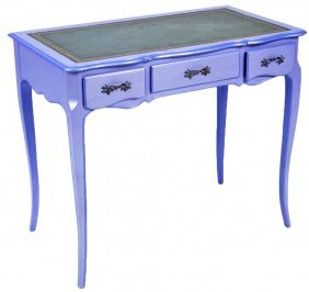 A PERIWINKLE PAINTED WRITING DESK WITH TOOLED LEATHE