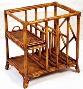 A RATTAN STAND AS A TABLE