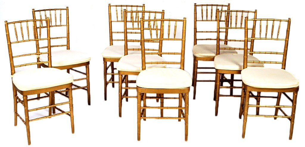 10: A SET OF EIGHT GOLD FAUX BAMBOO SIDE CHAIRS WITH LO