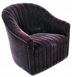 13: AN ART DECO STYLE CHANNEL UPHOLSTERED CLUB CHAIR WI