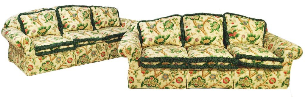 15: A PAIR OF CUSTOM ROLLED ARM SOFAS BY KISBETH WITH P